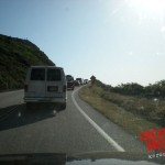 The long line of cars into Big Sur controlled by California Highway Patrol