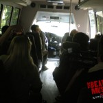 Riding the bus out of Base Camp with the full cast as they head to the afternoon shoot