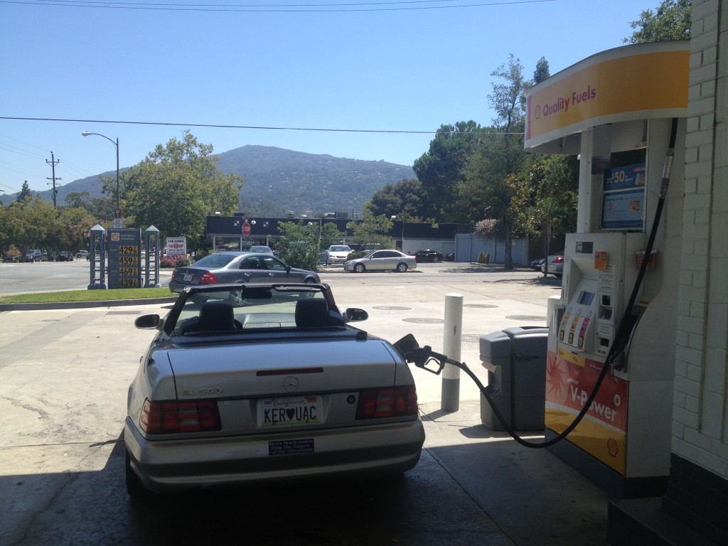 Neal Cassady's gas station, with John's mountain in background