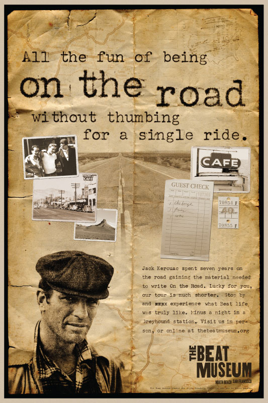 on the road poster the beat museum