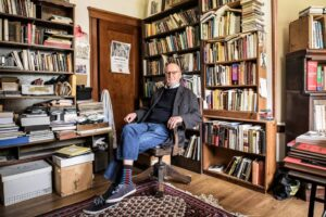 Ferlinghetti in his office