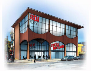 Our long-term vision for 580 Green includes an additional two floors, an expanded Beat Museum, a cafe, and a Beat Hotel. (Concept drawing by Michael Palumbo)