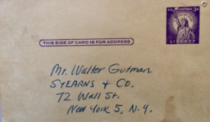 Addressed to Mr. Walter Gutman