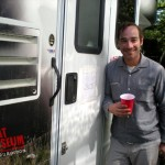 'Jack' by his trailer at the Base Camp deep in the heart of Bixby Canyon