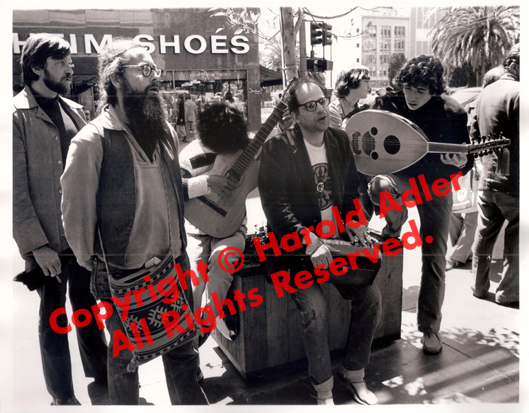 Allen Ginsberg, with members of The Cockettes and Magic Theater, demonstrating on behalf of The Living Theater in Union Square. Photographs by Harold Adler