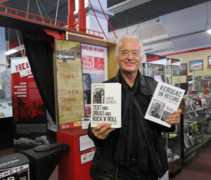 Jimmy Page with 'Text and Drugs and Rock 'n' Roll' by Simon Warner, and the new 'Kerouac on Record' edited by Simon Warner & Jim Sampas