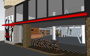Proposed Beat café patio and entrance. Rendering © Brandon Loberg, courtesy of The Beat Museum