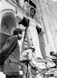 Bufano watches as the statue of St. Francis is moved, March 15, 1961