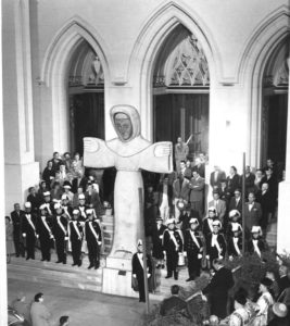 Bufano's statue at the Shrine of St. Francis, 1957