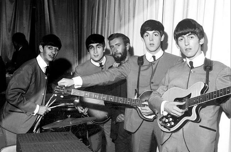 The Beatles with Royston Ellis (center), 1963