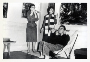 Sonia Gechtoff, Jay DeFeo, and Jim Kelly on New Years Eve, 1957. Photo by Wally Hedrick