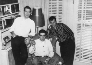 A Rocky Mountain News photo of Ed White (left), Tom Livornese and Jack Kerouac in Denver. (Denver Public Library)