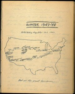 Kerouac's hand-drawn map of his hitchhiking trip, July-Oct. 1947
