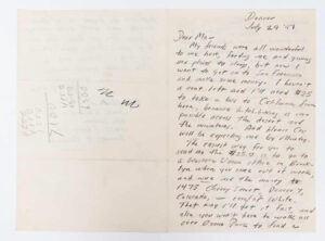 Kerouac Letter to Gabrielle July 29, 1947 Page 1