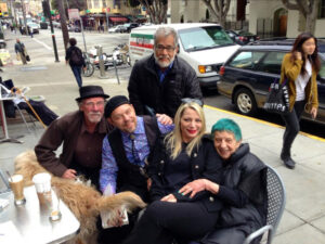 ruth weiss at Caffe Trieste on her 85th birthday in 2013. Left to right: Dennis Hearne, Dave Brinks, Neeli Cherkovski, Iris Berry, and ruth weiss