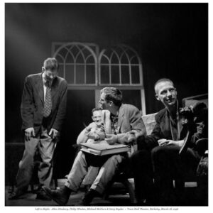 Allen Ginsberg, Philip Whalen, Michael McClure, and Gary Snyder, Town Hall Theater, Berkeley, March 18, 1956. Photo by Walter Lehman.