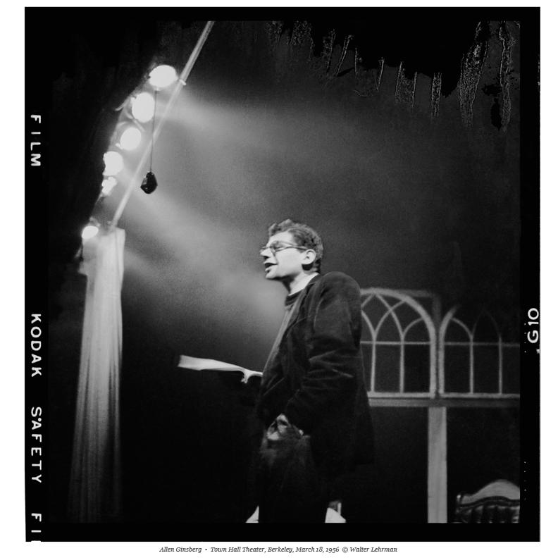 Allen Ginsberg, Town Hall Theater, Berkeley, March 18, 1956. Photo by Walter Lehman.