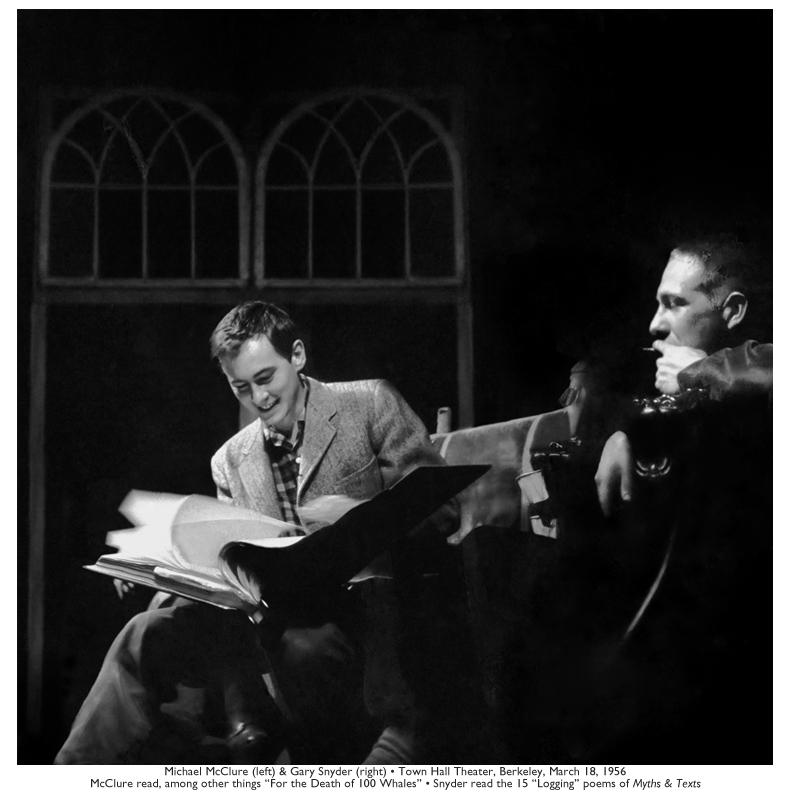 Michael McClure & Gary Snyder, Town Hall Theater, Berkeley, March 18, 1956. Photo by Walter Lehman.