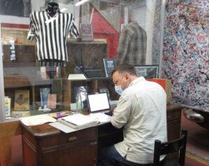 Volunteer David Zeeman cataloguing the Snyder archive